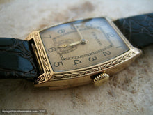 Load image into Gallery viewer, Early Rare 14K Gold Tonneau Tank Zenith with Decorative Case, Manual, 25.5x38mm