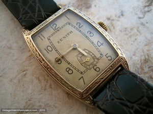 Early Rare 14K Gold Tonneau Tank Zenith with Decorative Case, Manual, 25.5x38mm