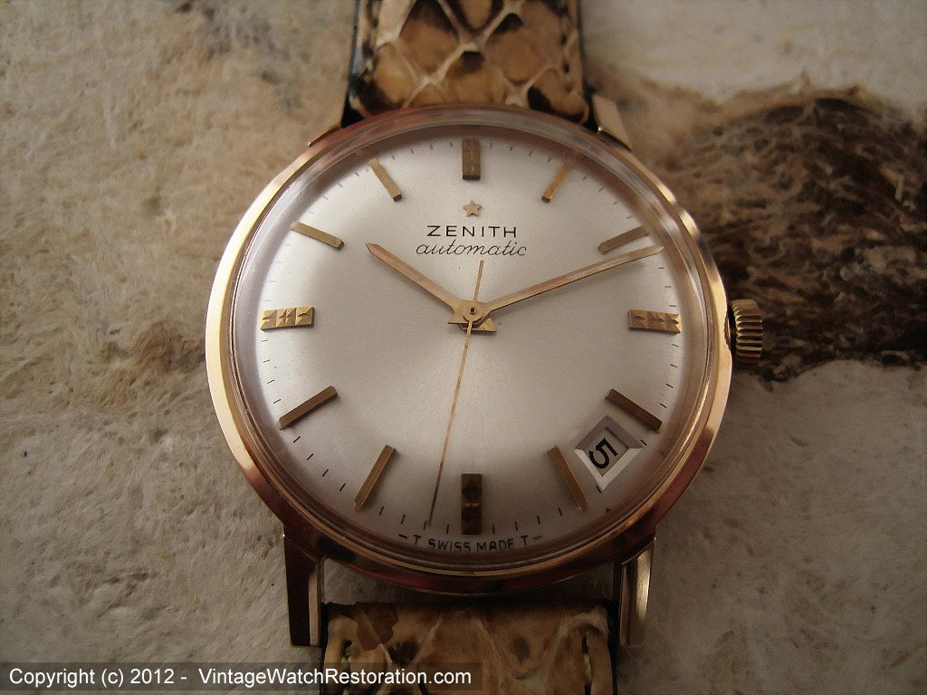 NOS Zenith 2522PC in Minty Rose Gold Filled Case with Pie Pan Dial, Automatic, Large 34mm