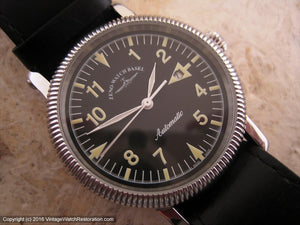 Zeno Watch Basel Black Dial with Original Box, Automatic, Huge 38mm