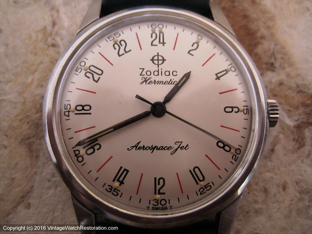 Zodiac Hermetic 24-Hour Dial Aerospace Jet, Manual, Large 34mm