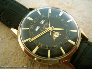 Rare and Stunning Black Dial Zodiac Triple Date Moonphase, Automatic, Very Large 34.5mm