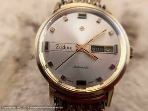Zodiac Day-Date Stunner with Gold Mesh Zodiac-signed Bracelet, Automatic, Large 35mm