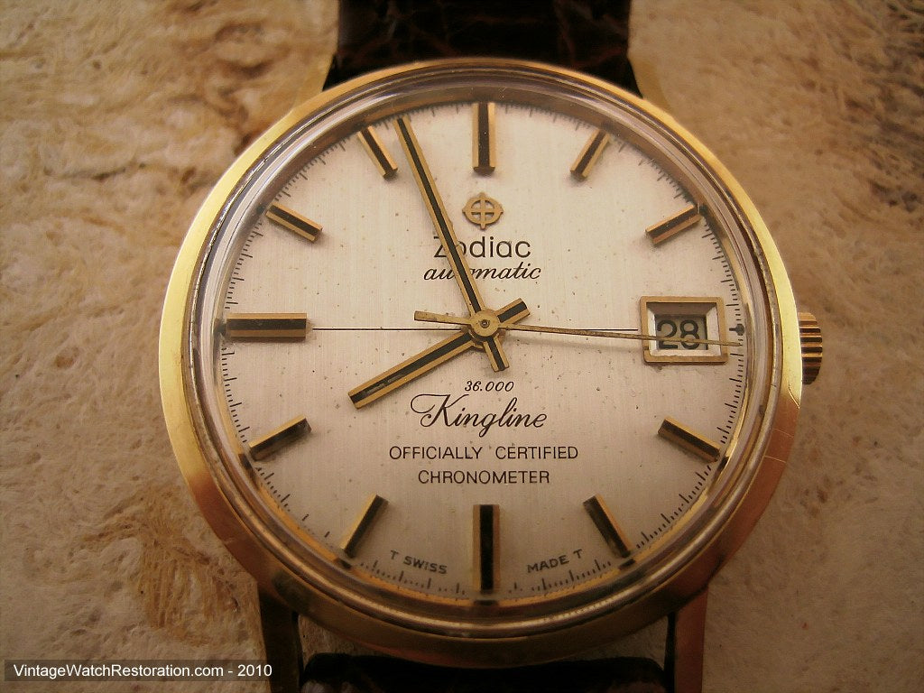 Rare 18K Gold Zodiac Kingline Chronometre, Automatic, 33mm