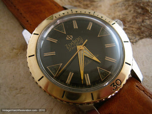 Black Dial Zodiac Sea Wolf with Gold Bezel, Automatic, Very Large 35.5mm
