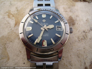 Rare Zodiac Blue Dial Sea Wolf with Date and Zodiac Bracelet, Automatic, Large 35.5mm