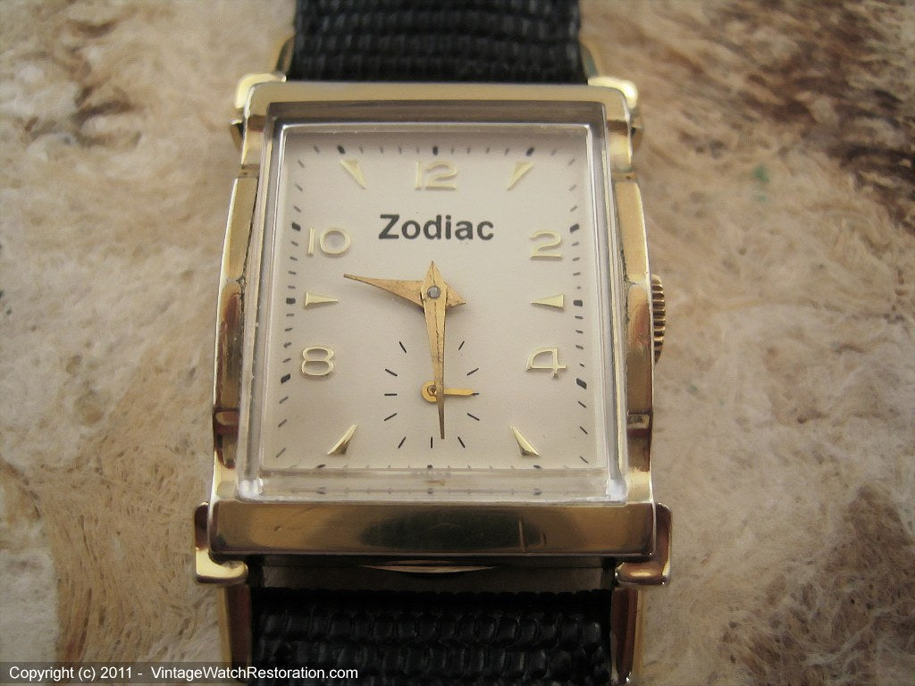Rare Rectangular Zodiac with Original Box, Manual, 22.5x39.5mm