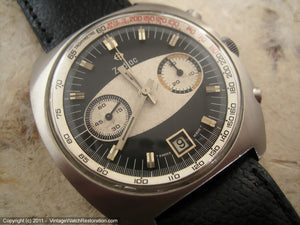 Rare Zodiac Chronograph with Black and White Original Dial with Date, Manual, Huge 40x42.5mm