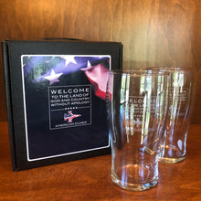 Load image into Gallery viewer, Sterling Cut Glass Irish Pub Glass Set w/ Patriot Jet