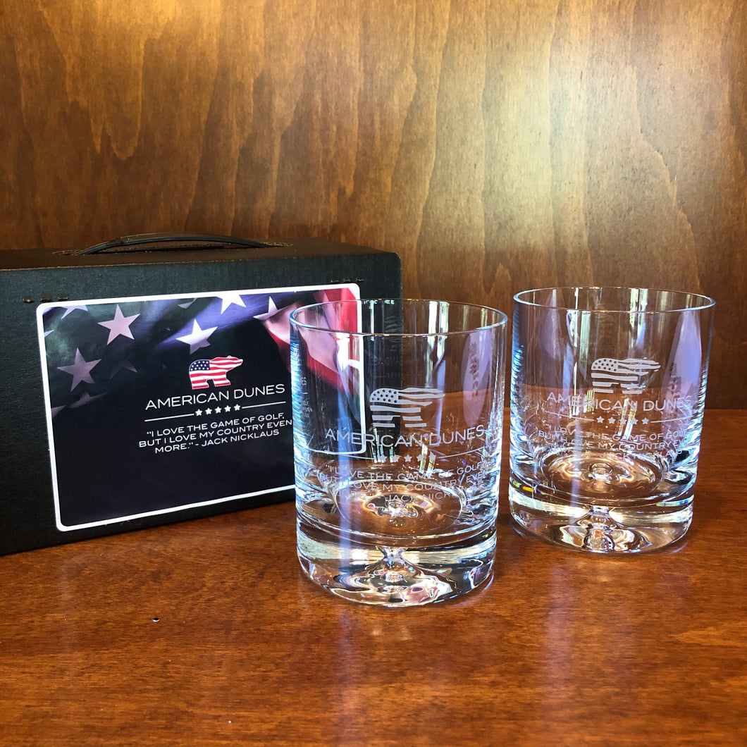 Sterling Cut Glass Deluxe On The Rocks Glass Set w/ Patriot Bear