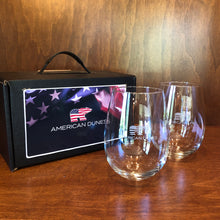 Load image into Gallery viewer, Sterling Cut Glass Harmony Stemless White Wine Glass Set w/ Patriot Bear