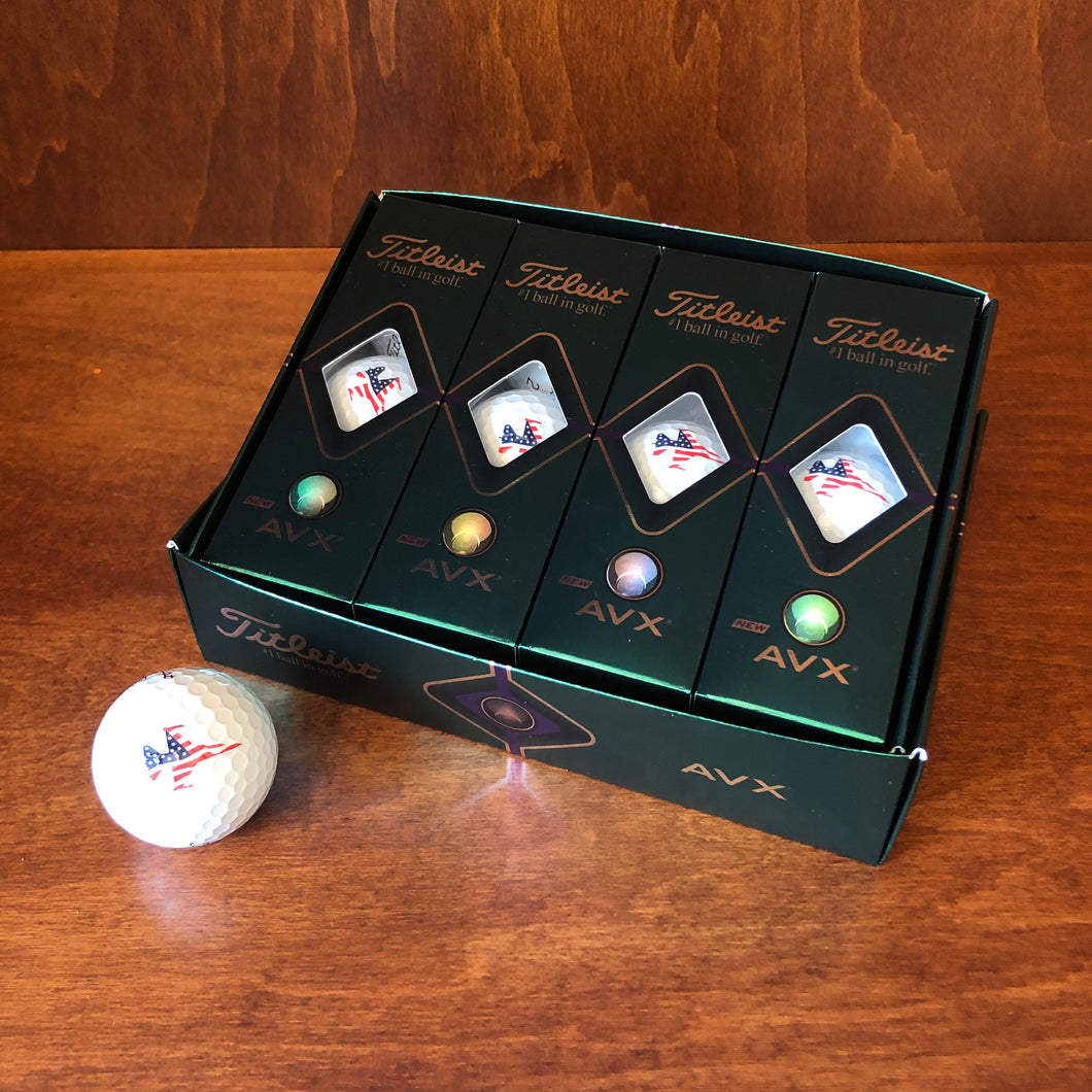 Titleist Golf Balls AVX Dozen w/ Patriot Jet Logo