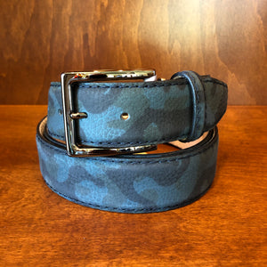 Antas Custom Fit Belt - Blue Camoflague w/ Navy Stitching