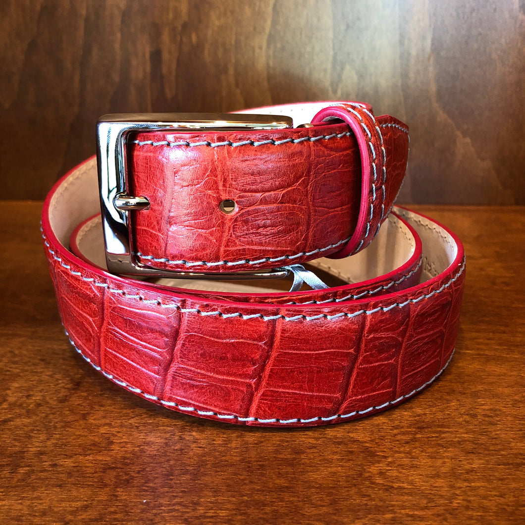 Antas Custom Fit Belt - Crimson Red w/ Gray Stitching