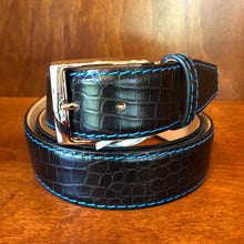Load image into Gallery viewer, Antas Custom Fit Belt - Black Belt w/ Cobalt Stitching