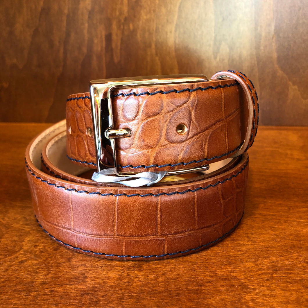 Antas Custom Fit Belt - Scotch Belt w/ Navy Stitching