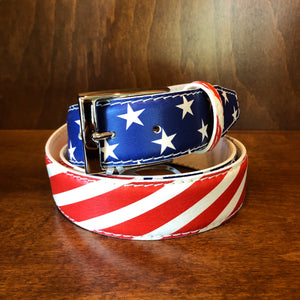 Antas Custom Fit Belt - USA Red-White-Blue Stars & Stripes w/ Brushed Italian Buckle
