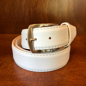 Antas Custom Fit Belt -  White Belt w/ White Stitching