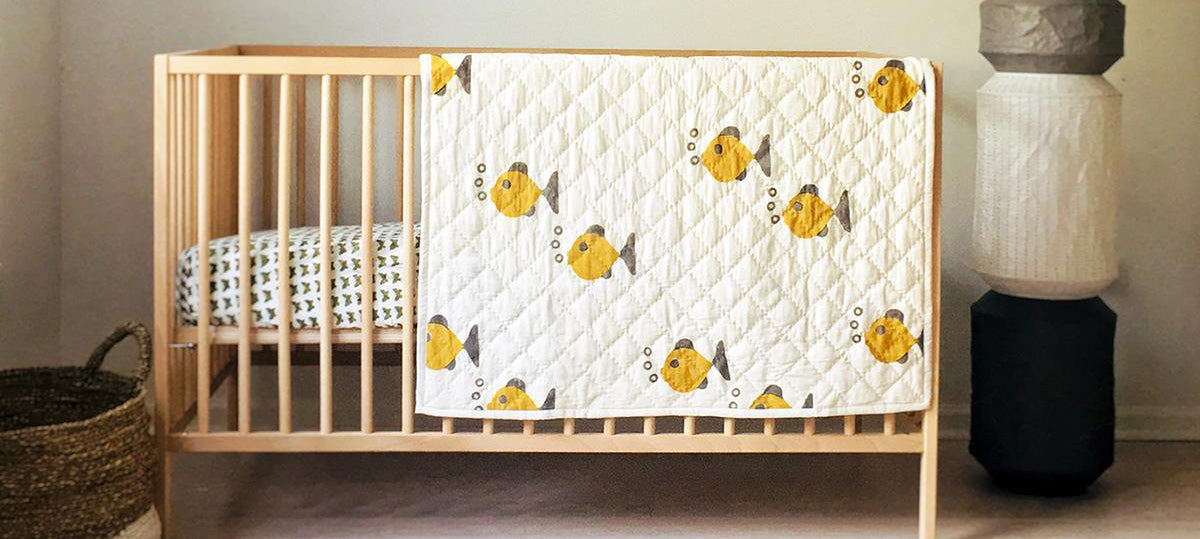 Srushti Organics Blankets on Crib