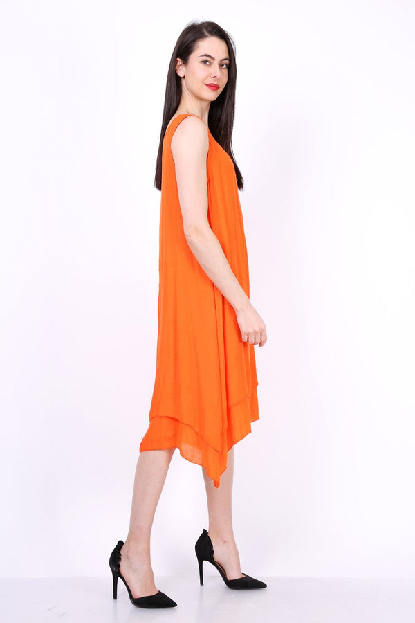 Robe uni mi longue REBECCA orange