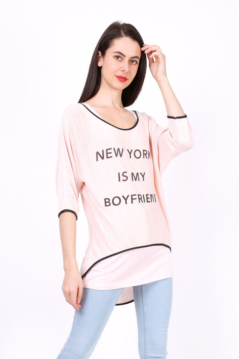 T-Shirt uni à manches mi-longue NEW YORK Rose