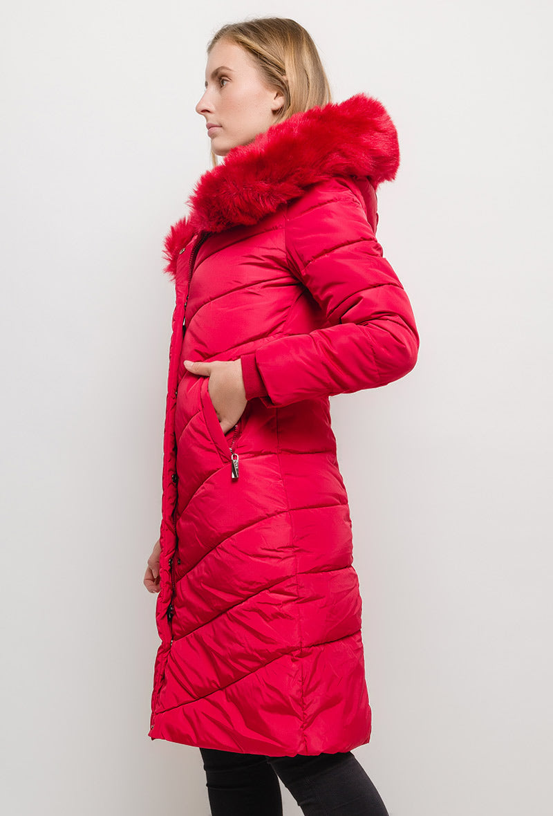 Manteau long à capuche avec fourrure LAURA rouge