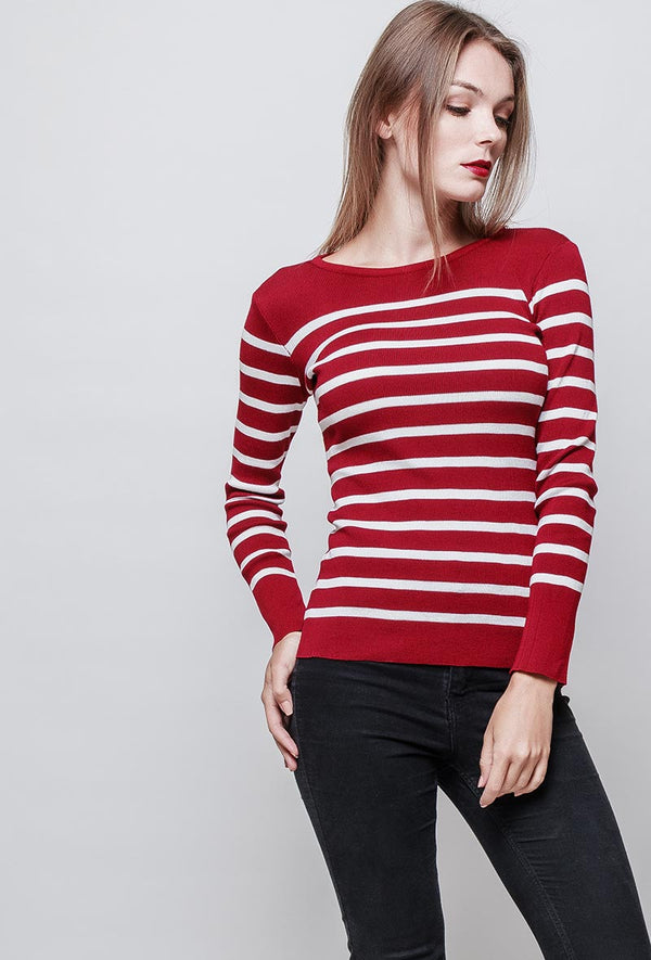 Pull marinière MELLA col rond rouge