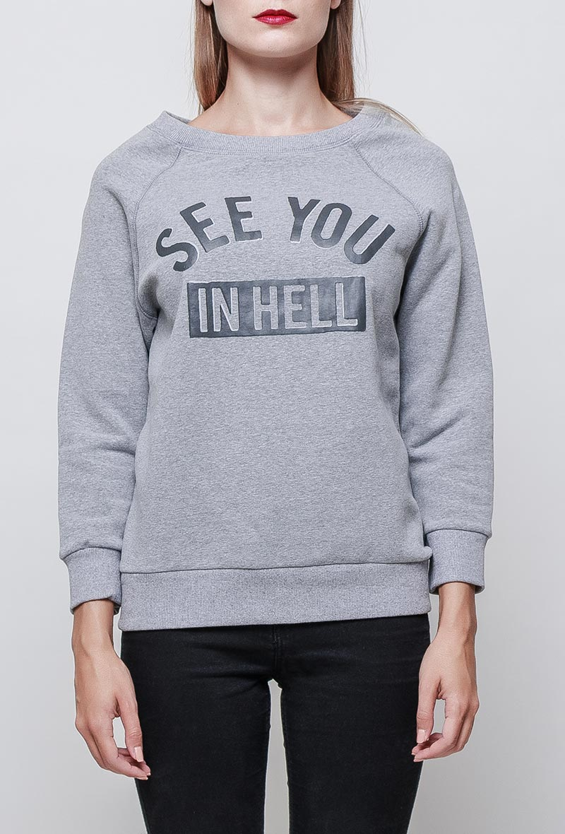 Sweat shirt col rond SEE YOU IN HELL gris