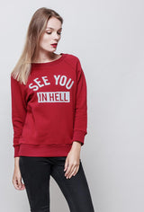 Sweat shirt col rond SEE YOU IN HELL rouge