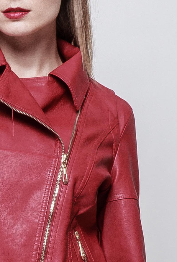 Veste en simili cuir BERTHA rouge