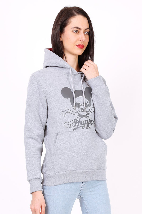 Sweat shirt à capuche HAPPY gris