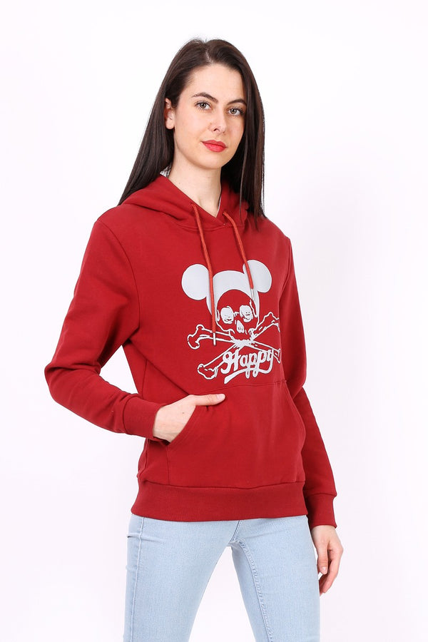 Sweat shirt à capuche HAPPY rouge