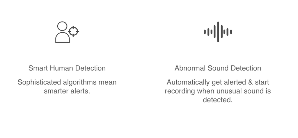 Kami Camera ai features Human detection - abnormal sound alert