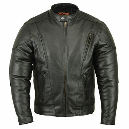 Daniel Smart Men's Vented M/C Cowhide Leather Jacket W/ Plain Sides - 421 Moto Gear