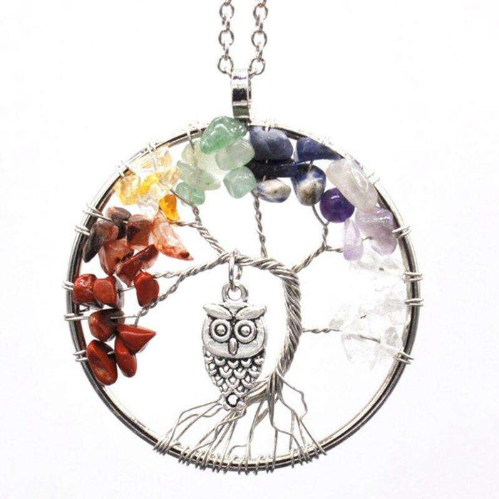 7 Chakras Natural Stones Tree of Life Designed Pendulum - Yoga Outlet Shop®