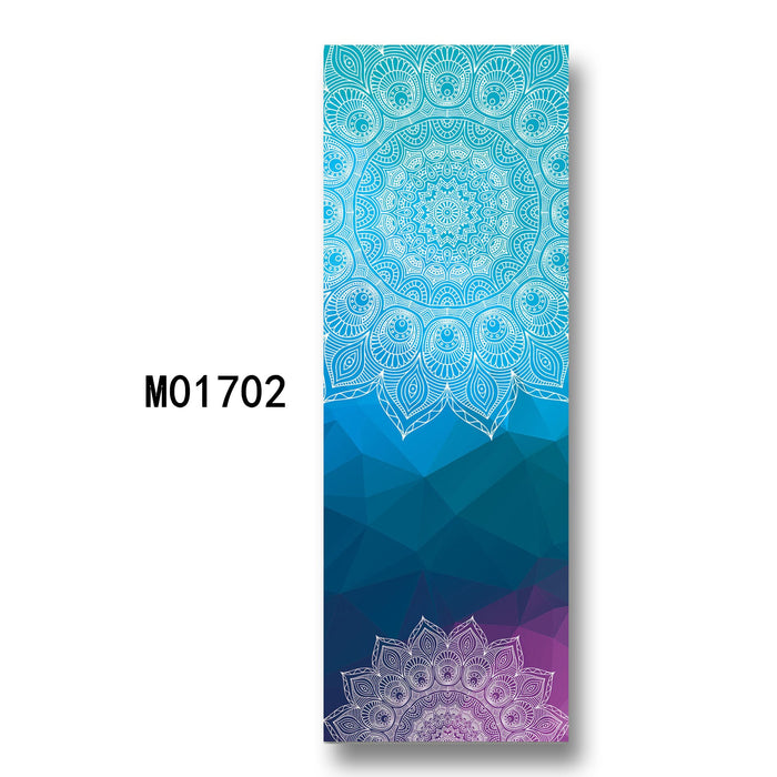 Foldable Non-slip Yoga Mat with Colorful Lotus Design