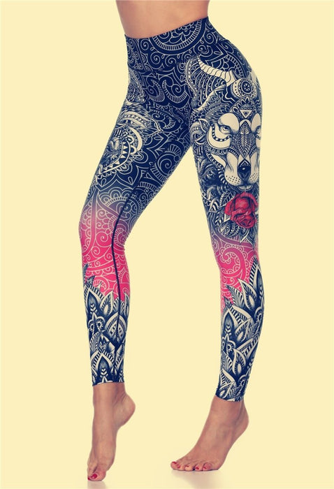 Elastic Wolf-Printed Yoga Leggings for Women - Yoga Outlet Shop™