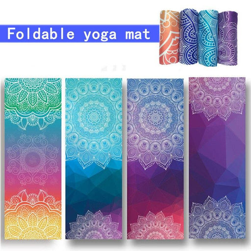 Foldable Non-slip Yoga Mat with Colorful Lotus Design - Yoga Outlet Shop™