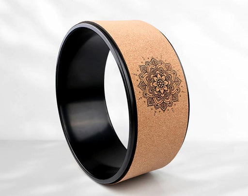 Wood Oak Yoga Wheel with Exquisite Lotus Print - Yoga Outlet Shop™