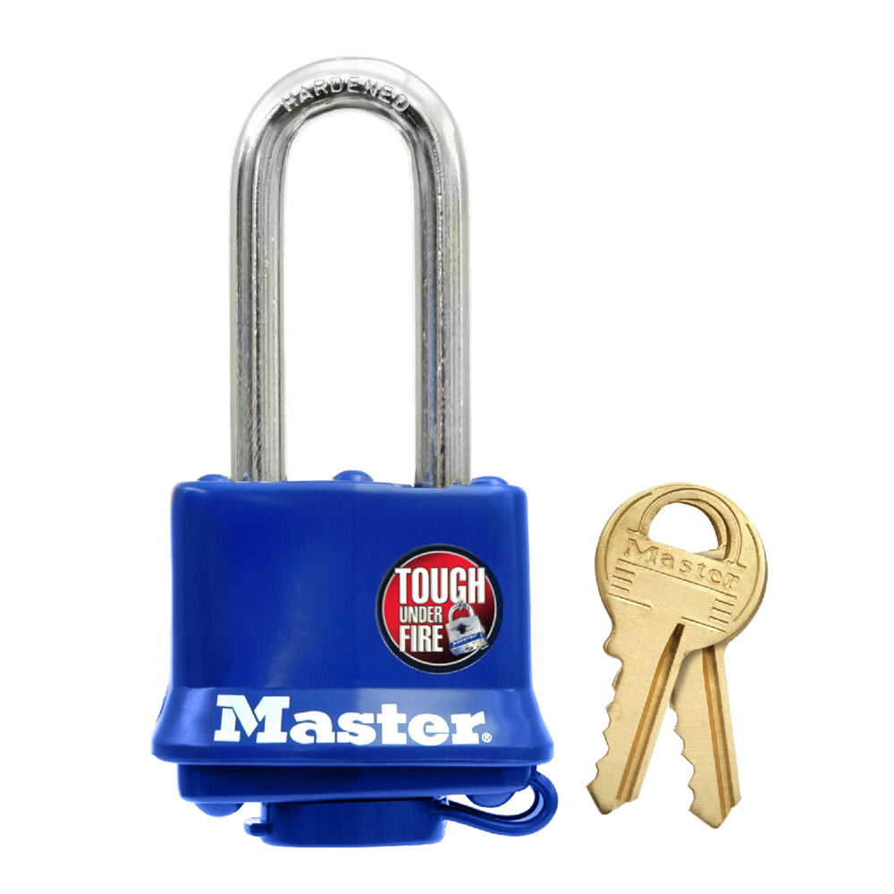 312KALH - 1-9/16in (40mm) Wide Covered Laminated Steel Pin Tumbler Padlock, Blue, with 2in (51mm) Shackle, Keyed Alike-Keyed-MasterPadlocks.com (LIVE)