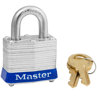 3MKBLU - Blue Laminated Steel Safety Padlock, 1-9/16in (40mm) Wide with 3/4in (19mm) Tall Shackle, Master Keyed-Keyed-MasterPadlocks.com (LIVE)