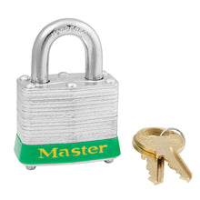 Load image into Gallery viewer, 3KAGRN - Green Laminated Steel Safety Padlock, 1-9/16in (40mm) Wide with 3/4in (19mm) Tall Shackle, Keyed Alike