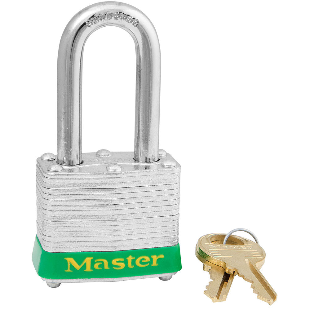3KALFGRN - Green Laminated Steel Safety Padlock, 1-9/16in (40mm) Wide with 1-1/2in (38mm) Tall Shackle, Keyed Alike