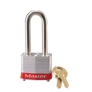 3KALHRED - Red Laminated Steel Safety Padlock, 1-9/16in (40mm) Wide with 2in (51mm) Tall Shackle, Keyed Alike-Keyed-MasterPadlocks.com (LIVE)