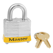 Load image into Gallery viewer, 3KAMKYLW - Yellow Laminated Steel Safety Padlock, 1-9/16in (40mm) Wide with 3/4in (19mm) Tall Shackle, Keyed Alike Master Keyed-Keyed-MasterPadlocks.com (LIVE)