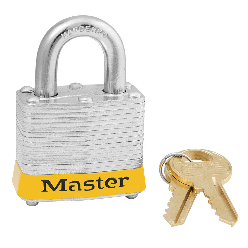 3KAMKYLW - Yellow Laminated Steel Safety Padlock, 1-9/16in (40mm) Wide with 3/4in (19mm) Tall Shackle, Keyed Alike Master Keyed-Keyed-MasterPadlocks.com (LIVE)