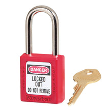 Load image into Gallery viewer, 410KARED - Red Zenex™ Thermoplastic Safety Padlock, 1-1/2in (38mm) Wide with 1-1/2in (38mm) Tall Shackle, Keyed Alike-Keyed-MasterPadlocks.com (LIVE)