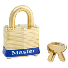 Load image into Gallery viewer, 4KAB - 1-9/16in (40mm) Wide Laminated Brass Pin Tumbler Padlock, Brass Shackle, Keyed Alike