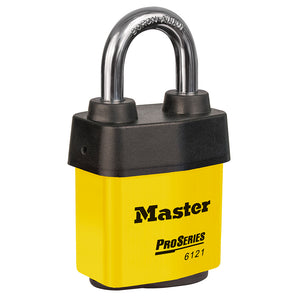 6121KAYLW - 2-1/8in (54mm) Wide ProSeries® Weather Tough® Laminated Steel Rekeyable Pin Tumbler Padlock, Keyed Alike, Yellow-Keyed-MasterPadlocks.com (LIVE)