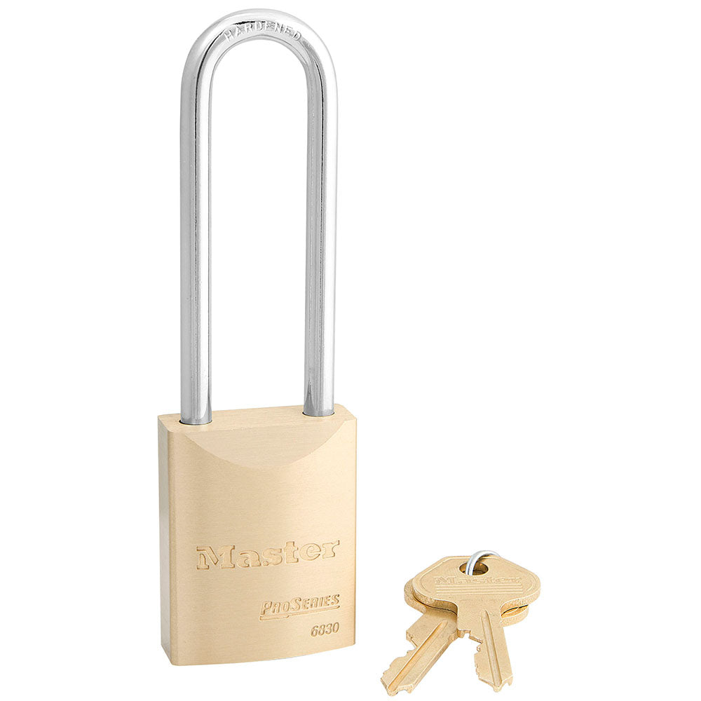 6830LT - 1-9/16in (40mm) Wide ProSeries® Solid Brass Rekeyable Pin Tumbler Padlock with 3in (76mm) Shackle